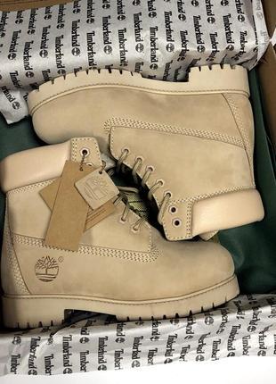 Акция!!! шикарные зимние ботинки timberland beige (женские) с натуральным  мехом! abbcf864cf8