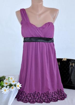 Шифоновое нарядное вечернее мини платье на одно плечо tom wolfe этикетка вышивка цветы