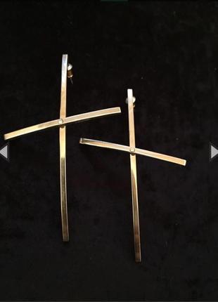 Серьги крупные кресты гвоздиком
