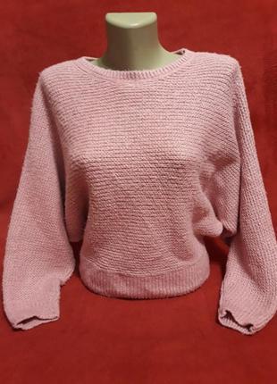 Красивый вязаный свитер летучая мышь размер оверсайз