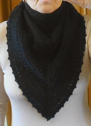 Вязаный бактус платок шарф треугольный 100% мериносовая шерсть ручная работа