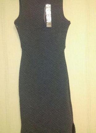 Стильное теплое платье туника из фактурной ткани