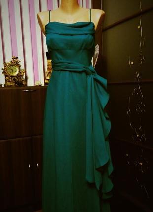 Длинное вечернее новогоднее  нефритовое платье 48 50  размер новое