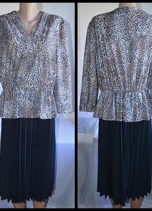 Брендовое леопардовое макси платье canda большой размер