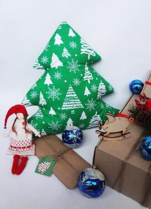 Декоративная новогодняя подушка, подарок на новый год, подушка елка