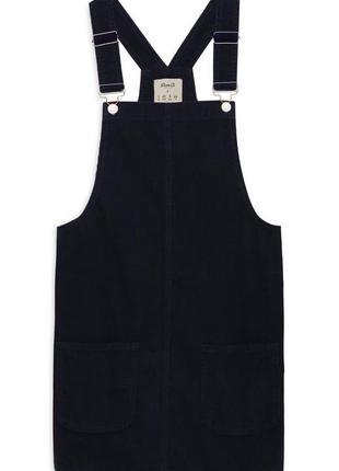 Сарафан вельветовый черный denim co, трапеция, с карманами