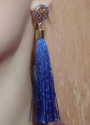 Шикарные вечерние серьги кисточки висячие кисти нить сережки2 фото
