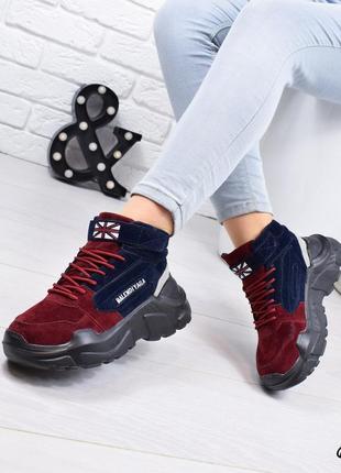 •кроссовки женские синий + бордо