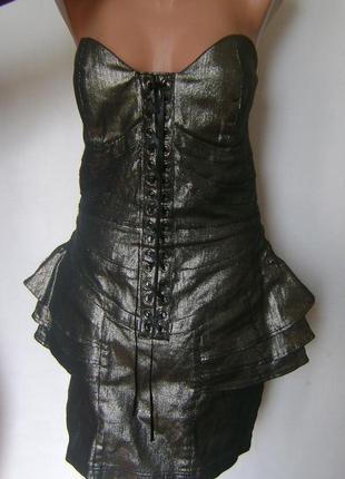 Красивенное платье бюстье на шнуровке, плотно облегает фигуру, размер 14, фирма bay