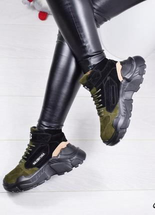 •кроссовки женские хаки + черный