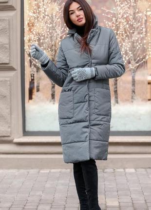 Шикарный новый зимний серый пуховик(пальто) на силиконе с биркой! s,m,l размеры
