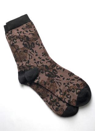 Красивые коттоновые носочки анимал принт с блеском, primark, 38-41