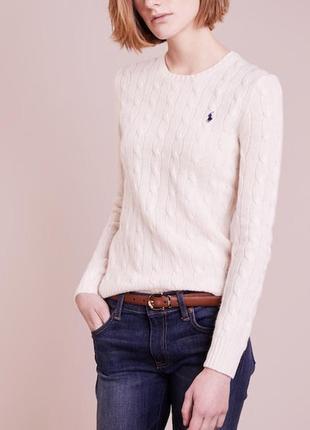 Кремовый свитер в косы , вязанный джемпер