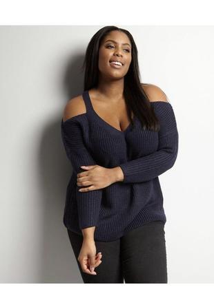 Стильный вязаный свитер оверсайз с открытыми плечами, батал объёмный new look