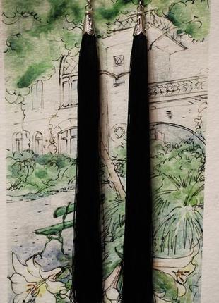 Серьги серёжки кисти кисточки длинные чёрные