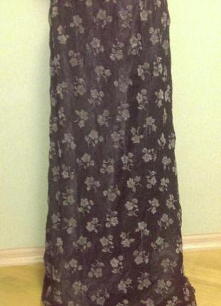 Винтажная шелковая юбка с бархатными цветами