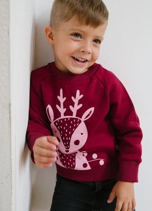 Новогодний бордовый свитшот с оленем. р. 104,110,1163 фото