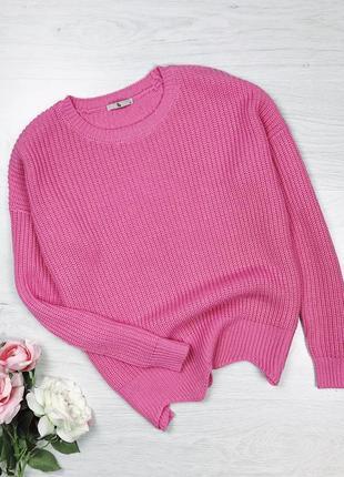 Розовый яркий вязаный свитер оверсайз крупной вязки tu zara
