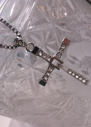 Чоловіча підвіска із камінцями + ланцюжок toretto форсаж (крестик мужской)