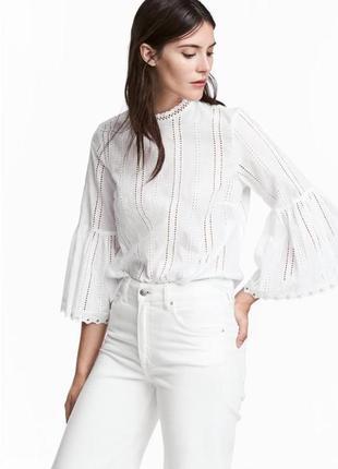 Хлопковая широкая блуза с вышывкой в дирочку