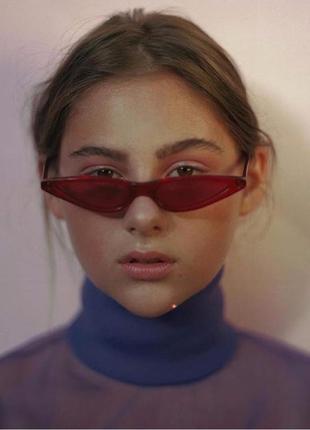 Красные узкие пластиковые очки sci-fi (скай фай, кошачий глаз, тонкие футуристичные очки)