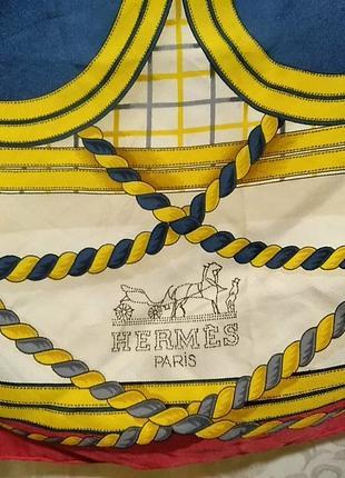 Натуральный шелковый платок. hermes grande tenue.