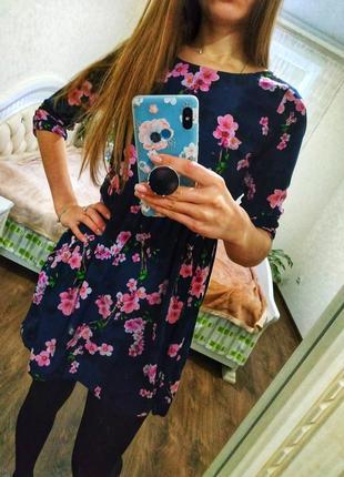 Платье в цветочный принт сакура