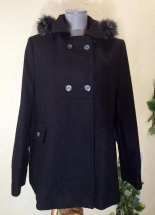 Sale!!!новое шерстяное пальто с капюшоном,48-50