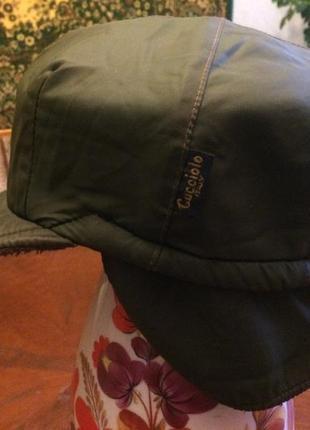 """Стильная зимняя кепка шапка фуражка с """"ушами"""" на флисе р. 54, cucciolo италия"""