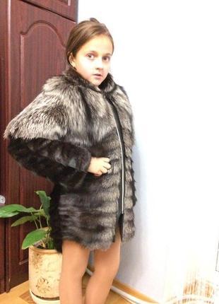 Шуба из чернобурки на девочку 5-11 лет!новогодний подарок для девочки!распродажа
