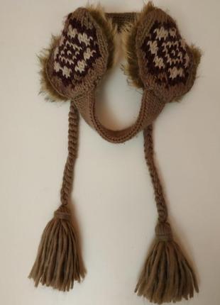 3 в 1 теплые меховые наушники повязка и косички бренд mantaray