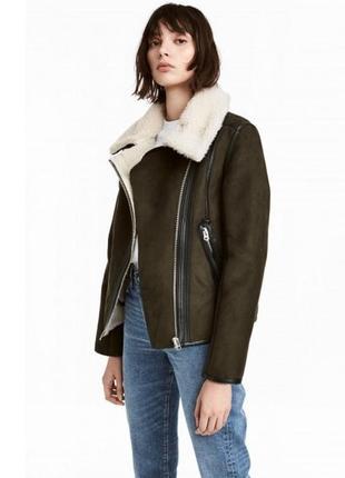 Хитовая зимняя дубленка куртка под замшу на искуственной овчине от h&m