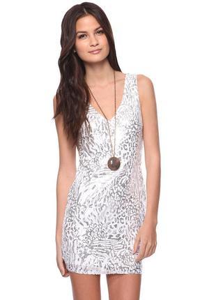 Платье на новый год в пайетках s 42-44 сукня серебряное вечерние