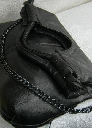 Сумка торба кожаная на молнии 35х31 длинная ручка на плечо натуральная кожа