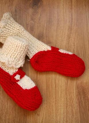 Носочки пинетки новогодние нарядные