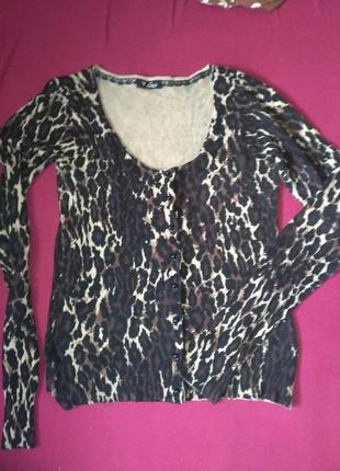 Тигровая леопардовая тренд кофточка кофта на пуговицах