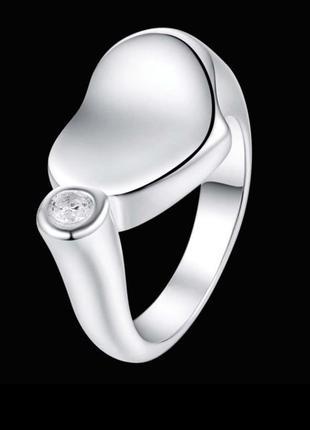 Стильное кольцо в серебре 925 с фианитом сердце, 17 р., новое! арт.3161
