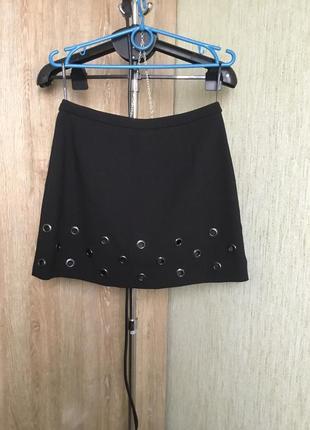 Мини юбка трапеция с люверсами