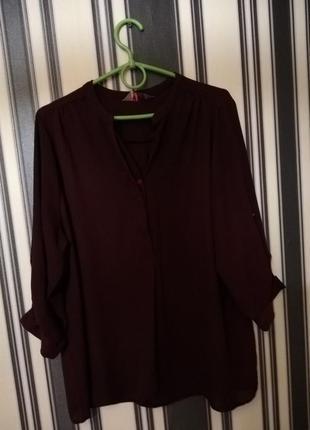 Шифоновая рубашка цвета марсала свободного кроя