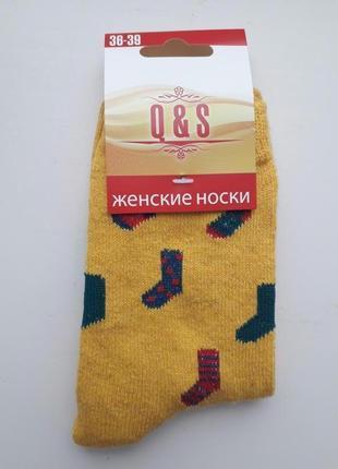 Женские шерстяные носки новогодний рисунок разные цвета носочки желтый 1 пара