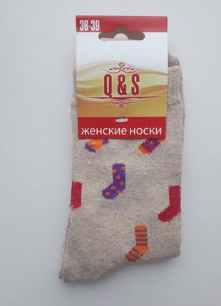 Женские шерстяные носки новогодний рисунок разные цвета носочки песочный 1 пара