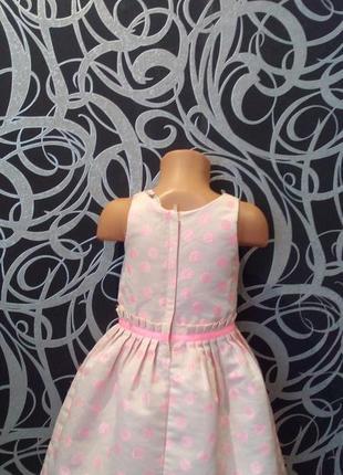 Нарядное пудровое платье с люрексом,горох,5-64