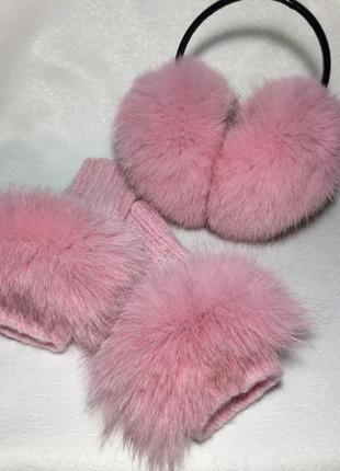 Розовые меховые наушники. песец наушники. митенки розовые. пушистые наушники