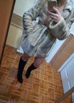 Шикарная норковая шуба, канадский мех, цвет: холодный лед