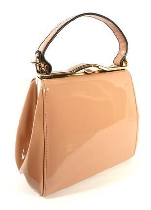 Лаковая сумочка valensiy 6839-5 пудра
