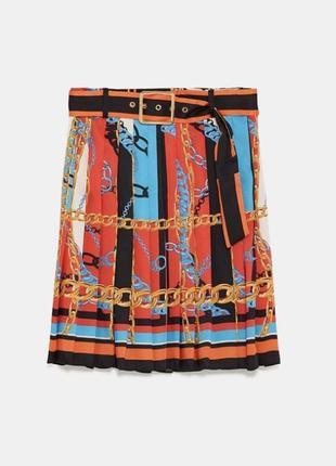 Юбка зара плиссированная юбка с принтом «цепочки» zara новая
