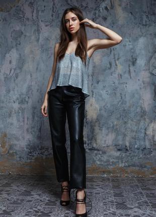 Кожаные брюки прямого кроя