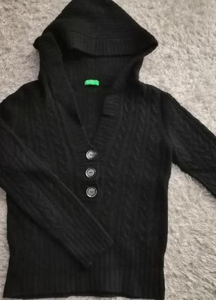 Фирменный свитер кофта с капюшоном benetton р. xs/s
