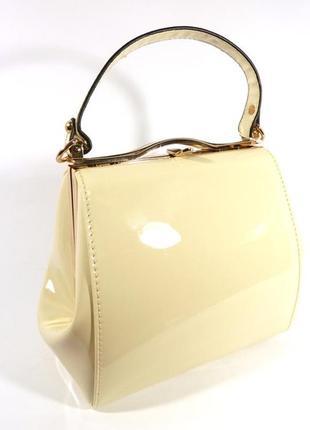Лаковая сумочка valensiy 6839-5 светло-бежевая