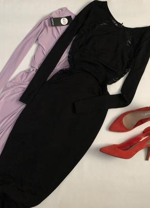 Роскошное платье миди с кружевом tfnc london